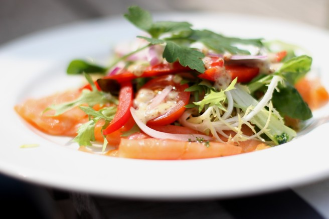 Healthy salmon salad, natural human food
