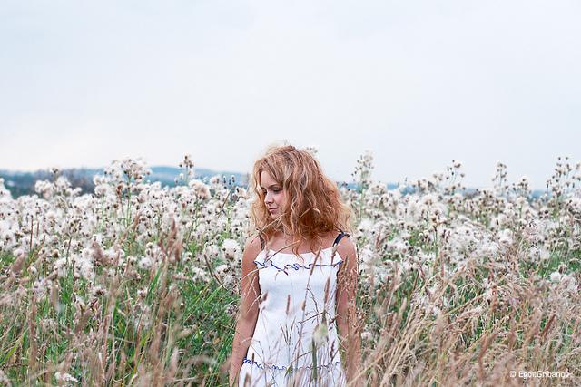 Listening, girl in field