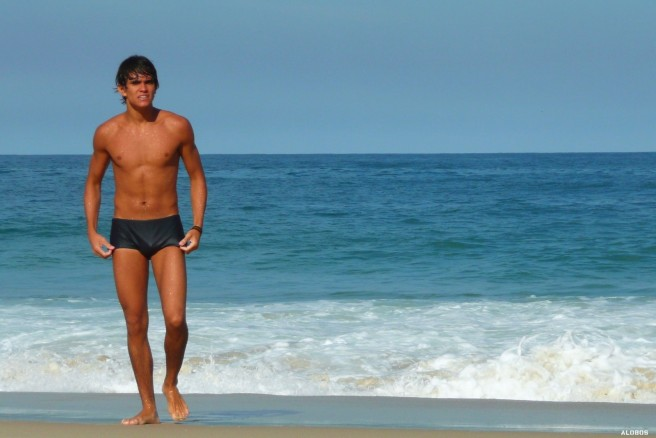 healthy lifestyle, tanned man at beach